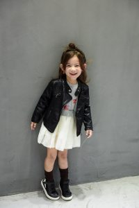 skórzana kurtka z ekoskóry dla dziewczynki, dziecka z aliexpress