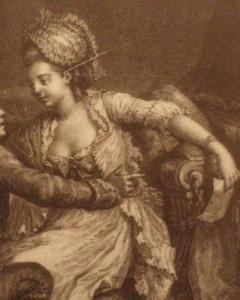 """fragment obrazu Nicolasa Lavreince'a """"Szczęśliwa chwila"""" z 1777 roku, ukazuje kobietę w ówczesnym """"negliżu"""", przykryty krótka, falbaniastą narzutką, zwana """"verte"""""""