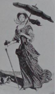rycina damy spacerującej na wsi Sainta-Jeana, ok. 1675